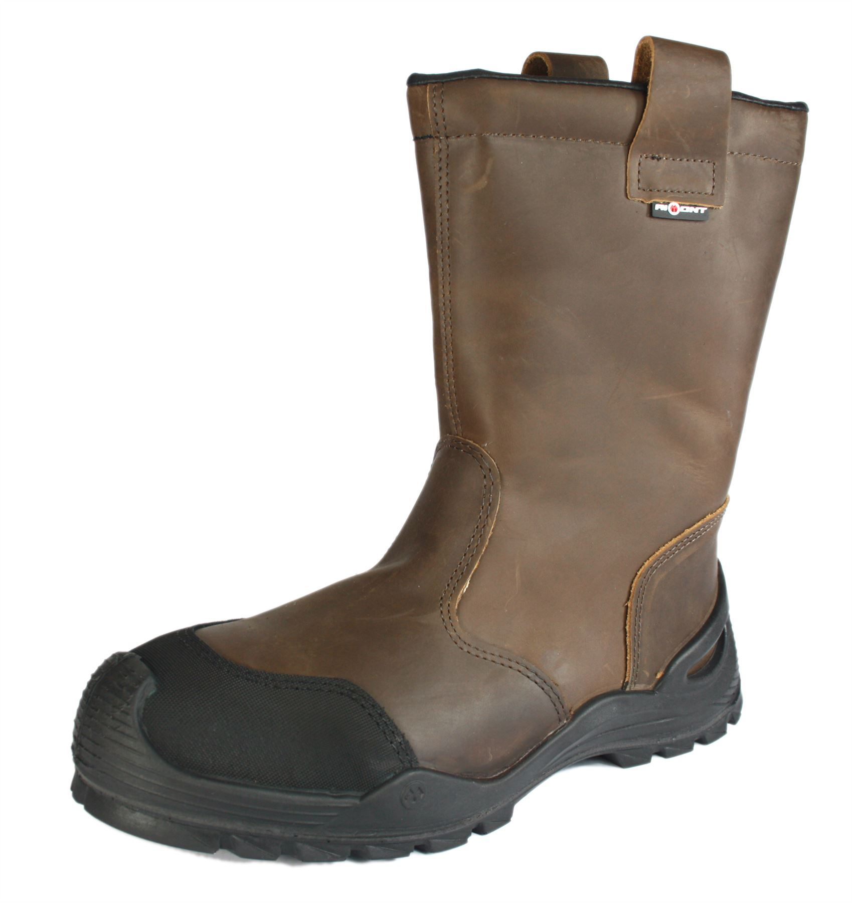 Mens New Brown Leather Safety Rigger Work Boots Water Resistant Steel Toe