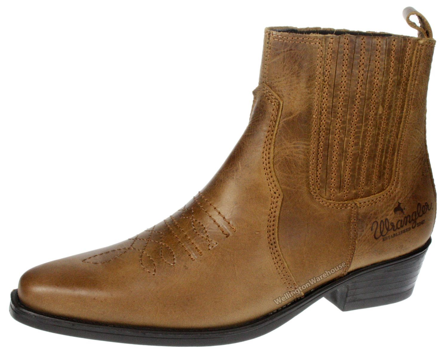 Tex Wrangler Leather Weston Cowboy Stiefel Chelsea On Pull