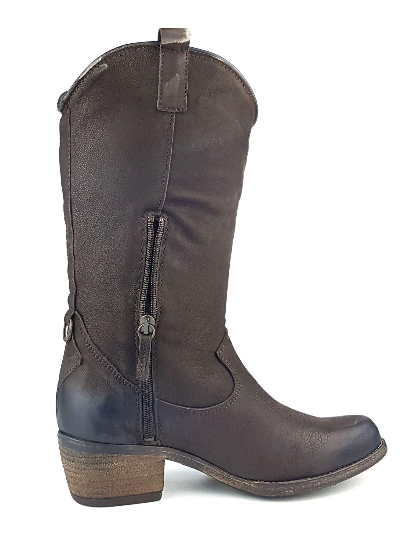 Wrangler Carson Hi Knee High Leather Chelsea Cowboy Heel Boots Dark Brown