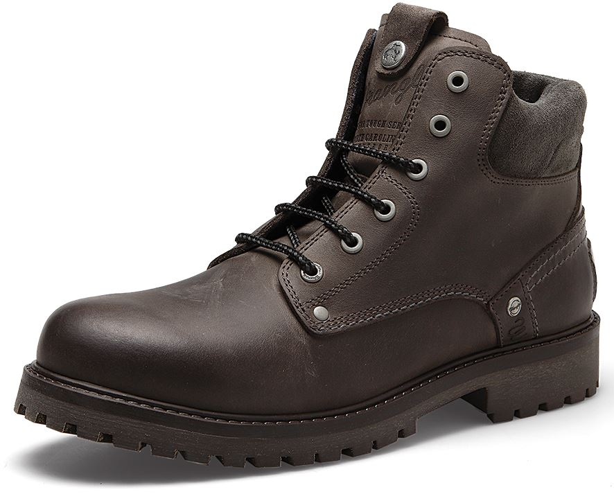 Wrangler Yuma Mens Leather Lace Boots Brown Camel Grey