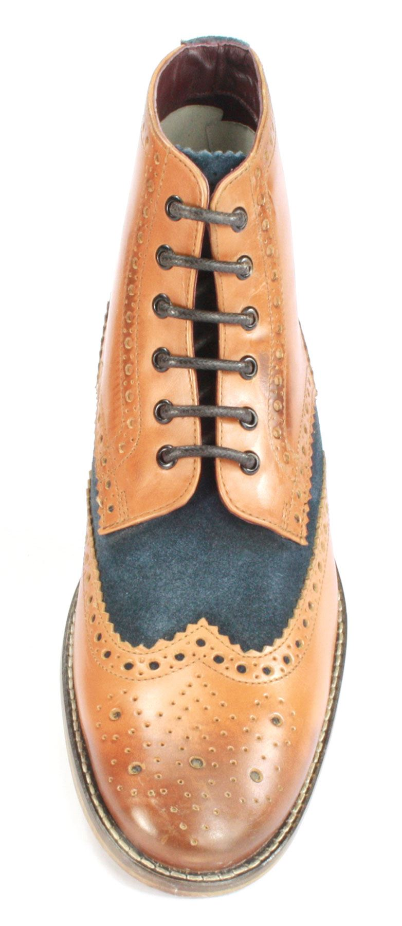 London Brogues Mens Leather Lace Up Wingtip Formal GATSBY Hi Brogue Boots