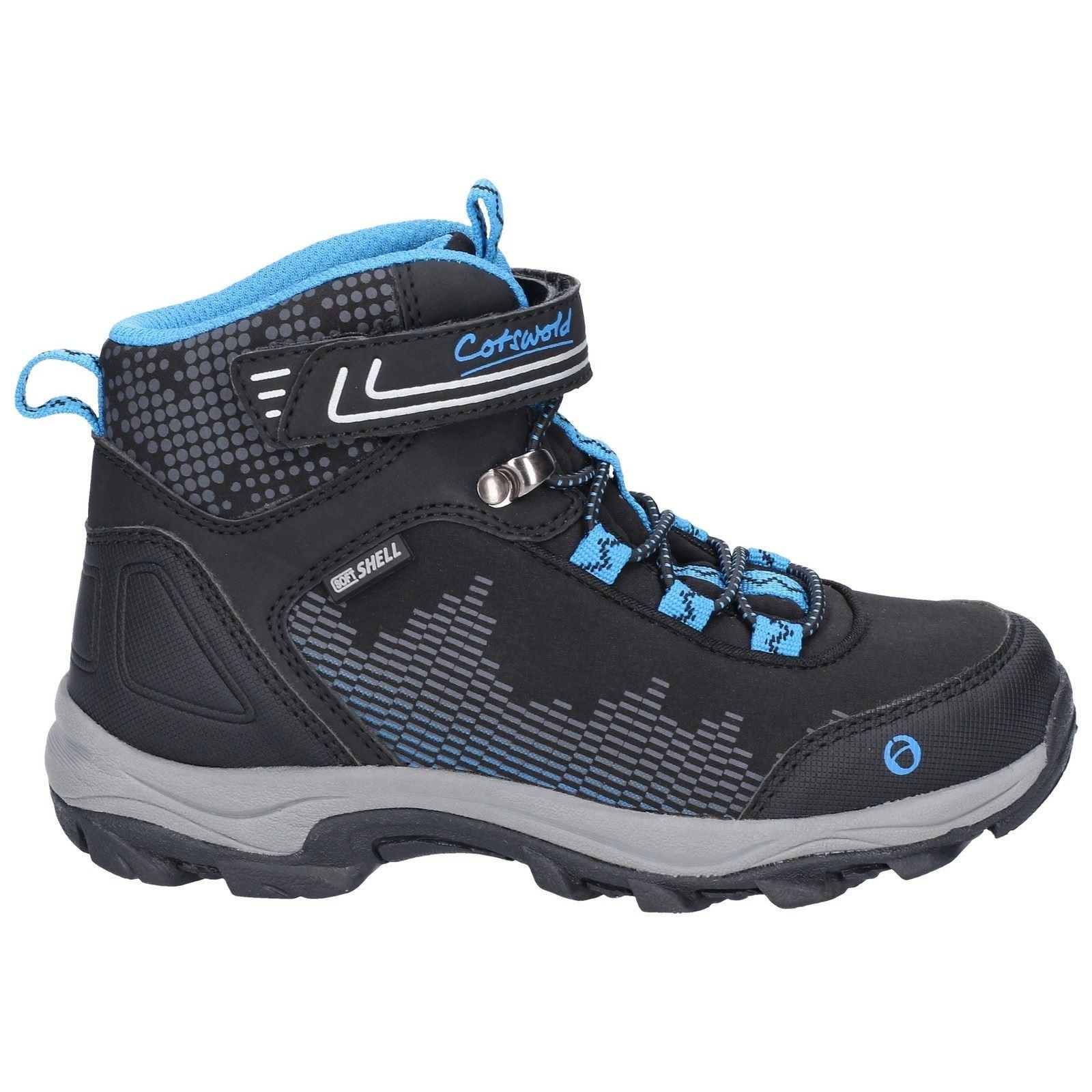 9e4bc72b608 Details about Cotswold Ducklington Black/Blue Childrens Hiking Boots  Textile+Synthetic