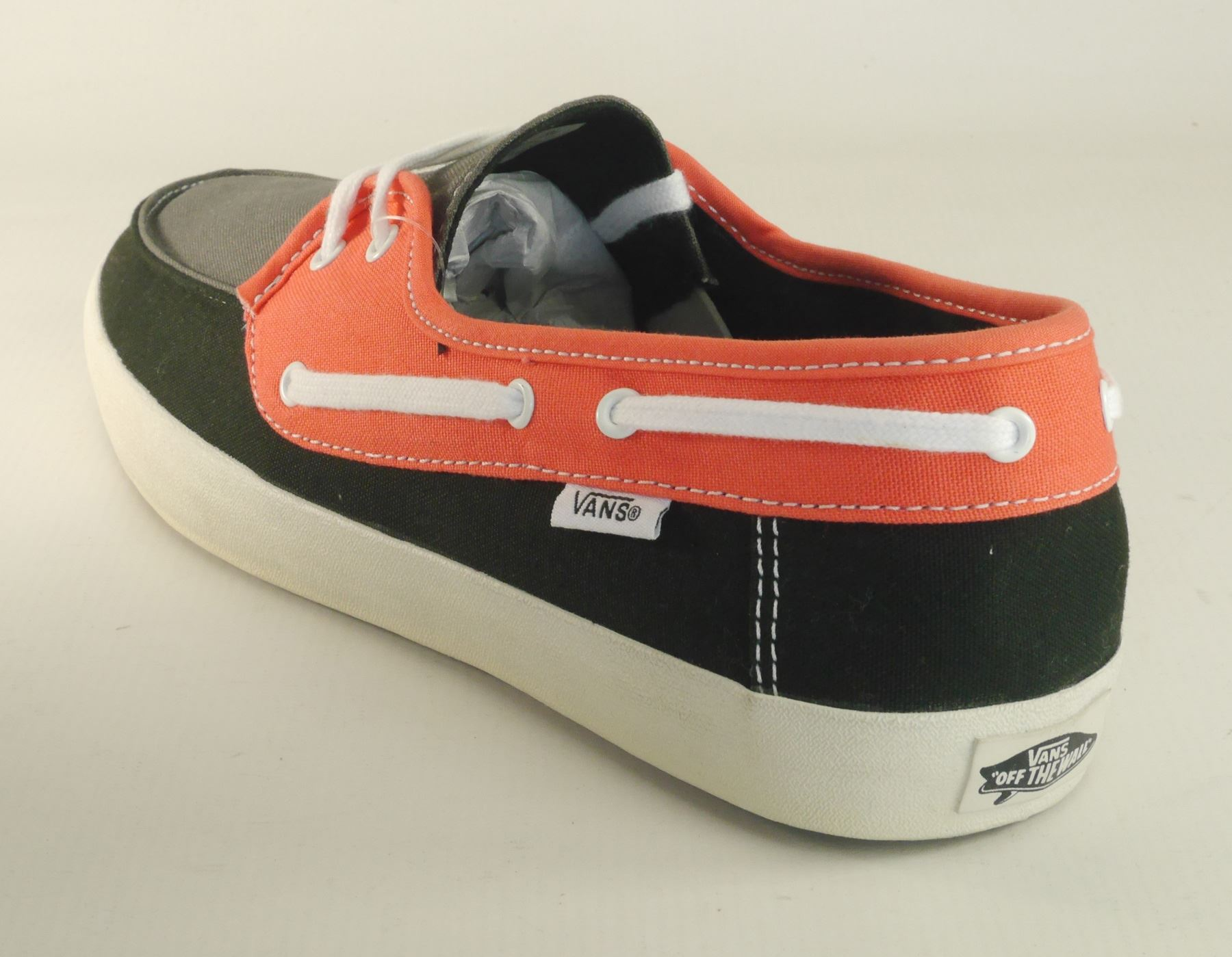 Details about Vans Chauffeur Mens Lace Up Canvas Pumps Boat Shoes Grey Red