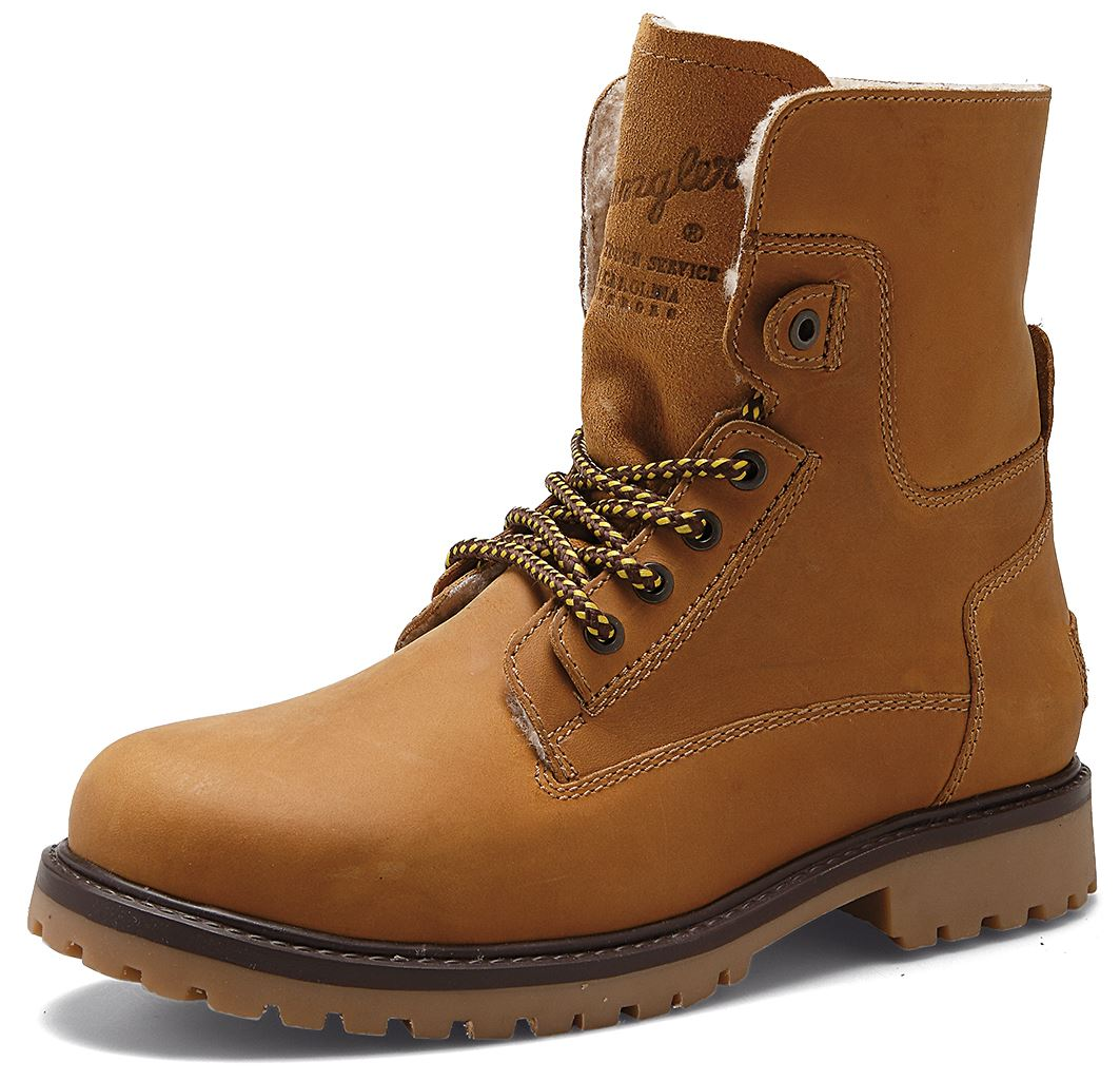 d93eb9dab7c Details about Wrangler Aviator Mens Leather Hi Lace Up Boots Camel