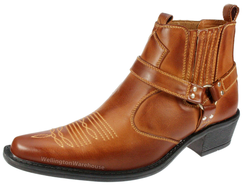 Mens Brown Cuban Heel Shoes