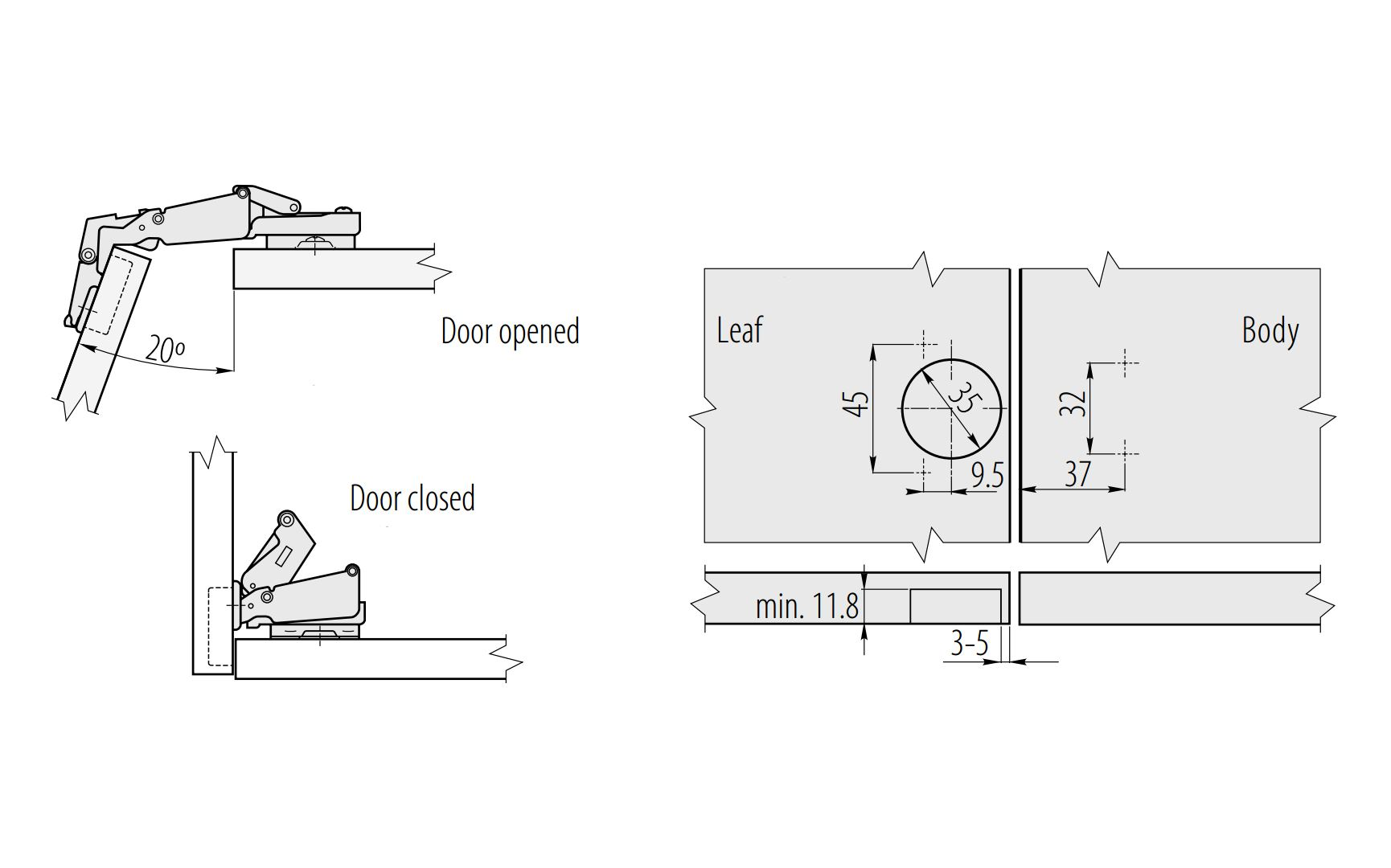 Invisible hinge in box with integrated damping 26mm or 35mm