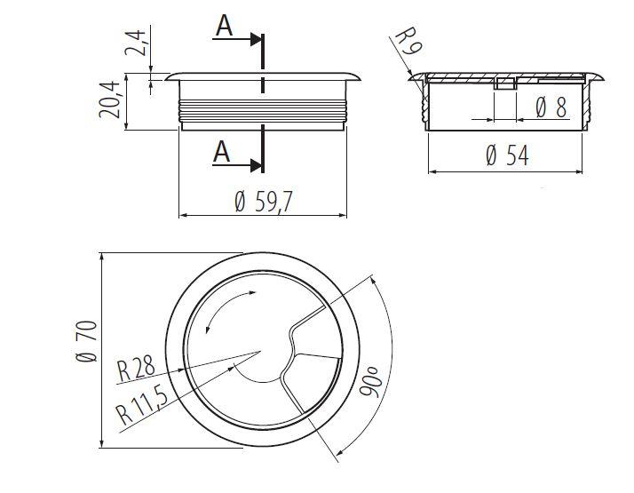 60mm-pc-computer-Scrivania-da-PLASTICA-PASSACAVO-tabella-cavo-ordinato-wire-Hole-copertura miniatura 4