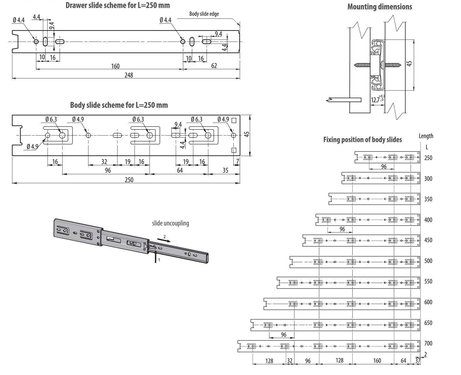 1 Pair Full Extension drawer runners  slides H-45mm L-250mm Capacity 35kg