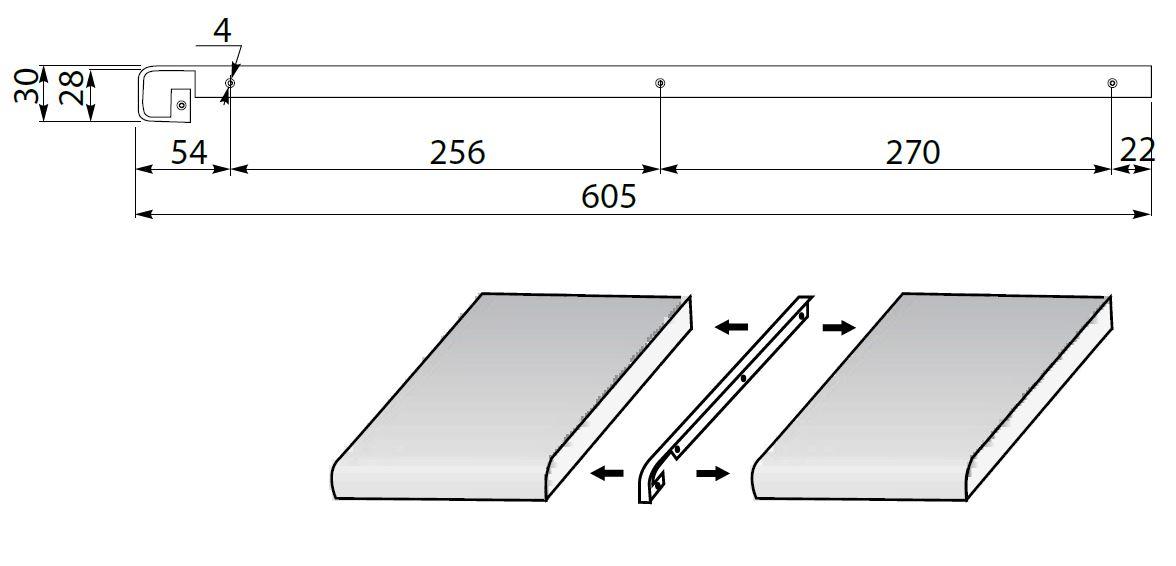profil finition pour plan de travail jusqu 39 30mm ou 40mm largeur ebay. Black Bedroom Furniture Sets. Home Design Ideas