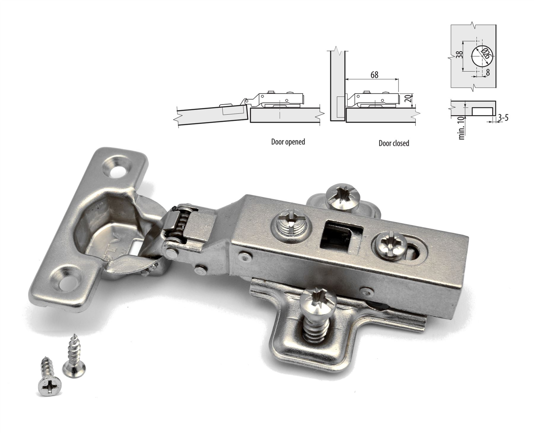 GTV SOFT CLOSE WARDROBE KITCHEN CABINET MINI DOOR HINGE 26mm PLATE ...