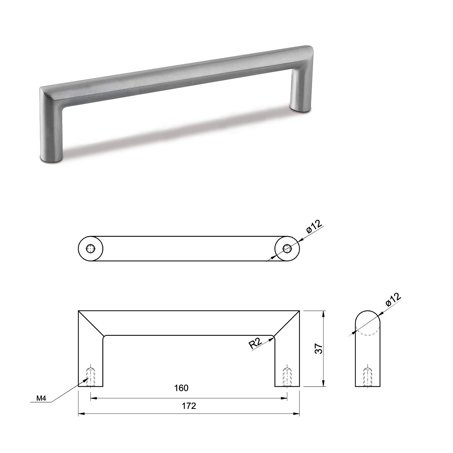 SMALL DOOR PULL HANDLE Stainless Steel C Bar