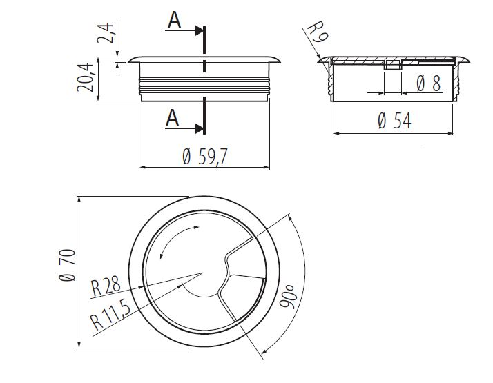60mm-pc-computer-Scrivania-da-PLASTICA-PASSACAVO-tabella-cavo-ordinato-wire-Hole-copertura miniatura 52