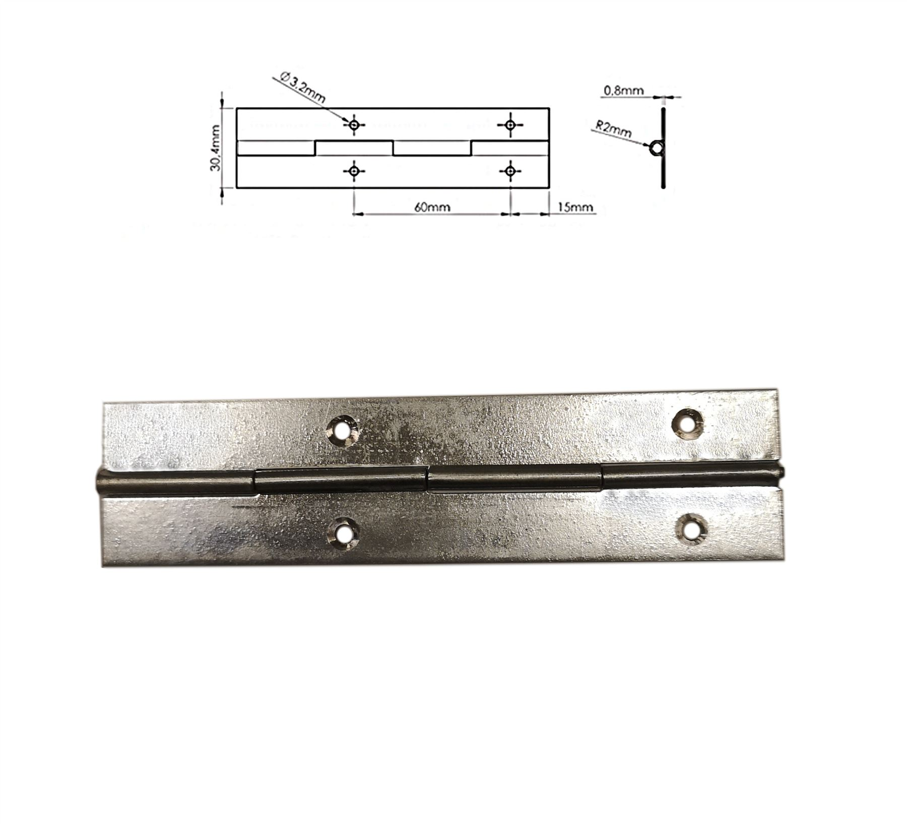 1m Continuous Metal Piano Hinge Gold Colour 1000mm