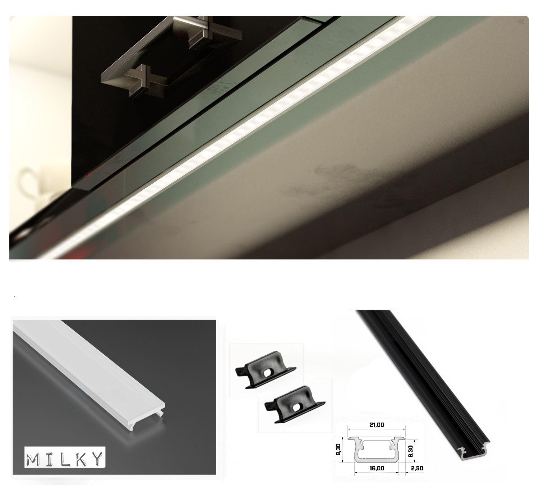 1m 5m 10m profil aluminium encastr pour ruban led couvercle haute qualit ebay. Black Bedroom Furniture Sets. Home Design Ideas