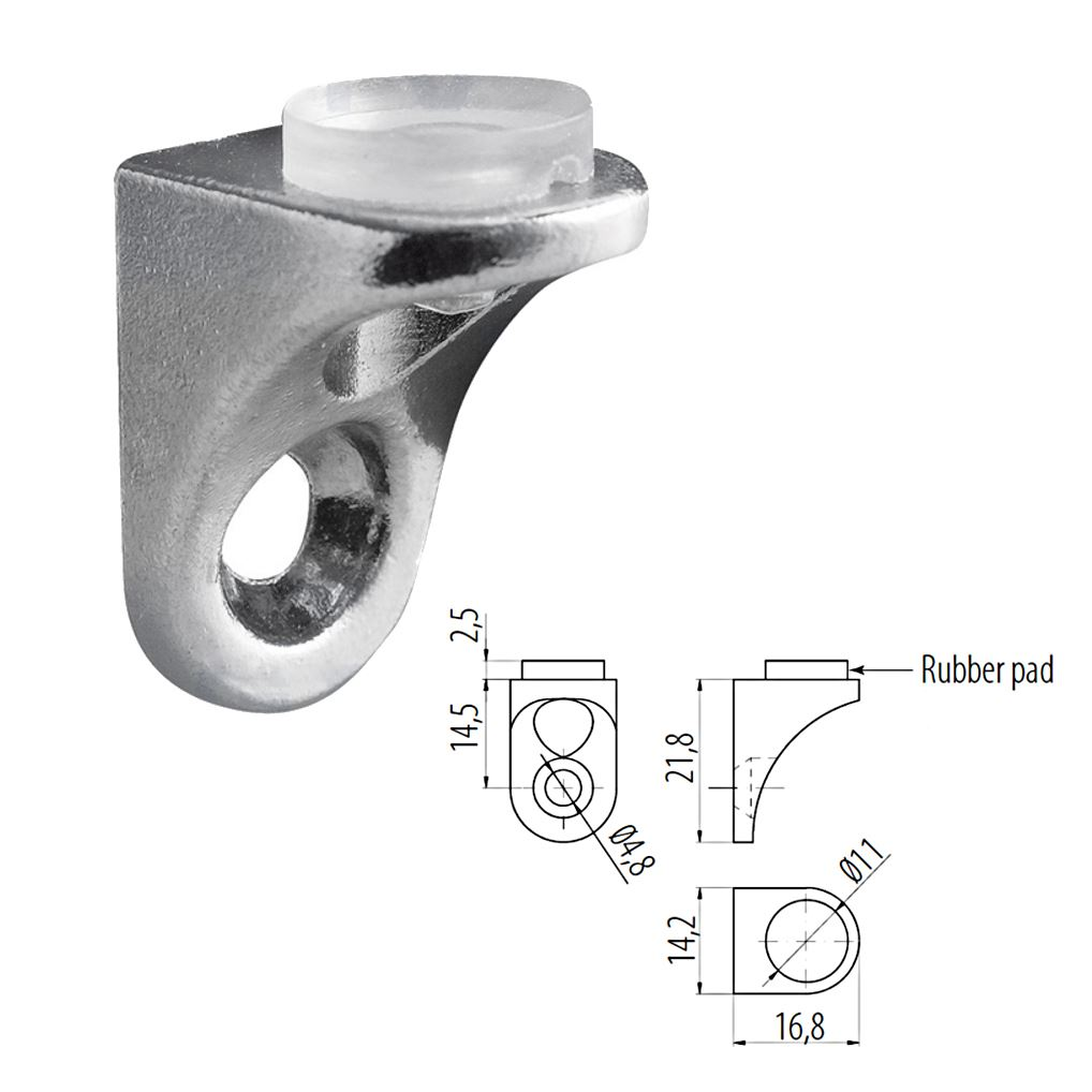 Small Shelf Bracket Glass Wood Shelf Support With Rubber