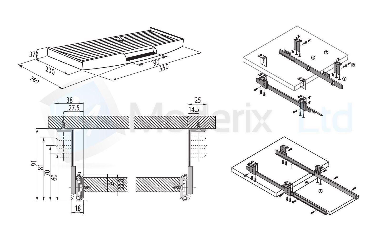 kit de clavier tiroir rails coulissant tiroirs tiroir montage noir s ebay. Black Bedroom Furniture Sets. Home Design Ideas