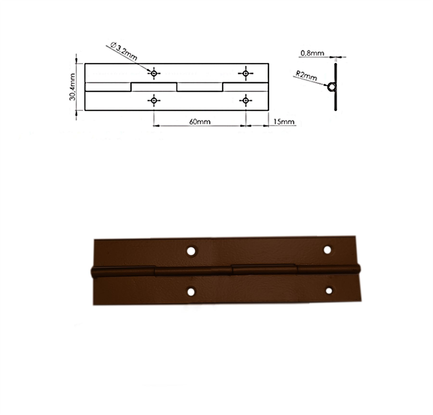 120mm Continuous Metal Piano Hinge Steel Colour