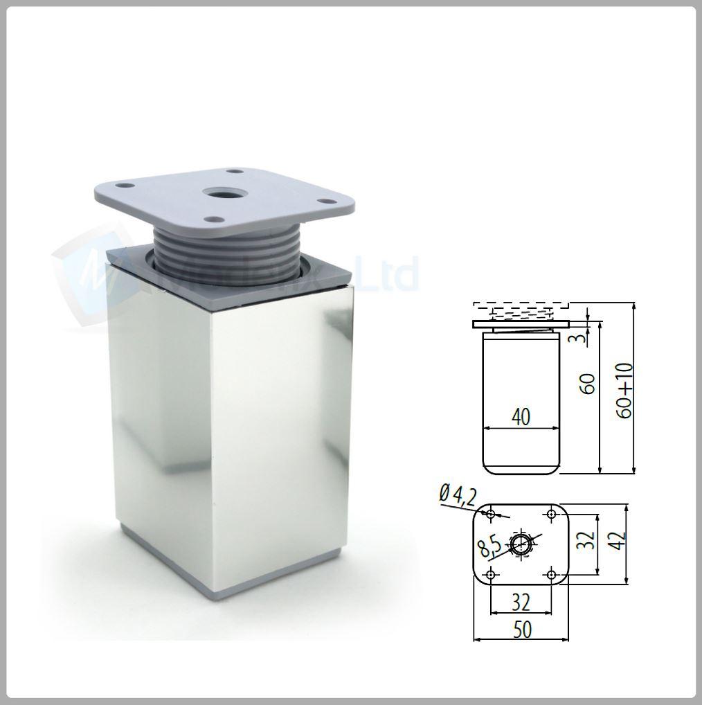 Gambine Gambe Piedi Piedini Per Divano In Alluminio 60mm
