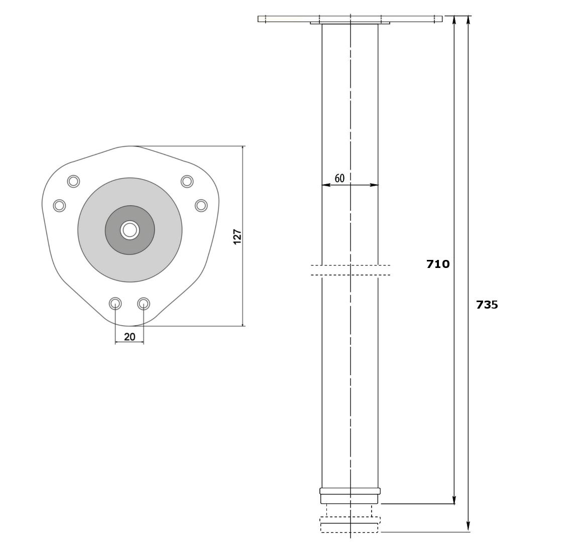 710mm Adjustable Breakfast Bar Kitchen Worktop Support