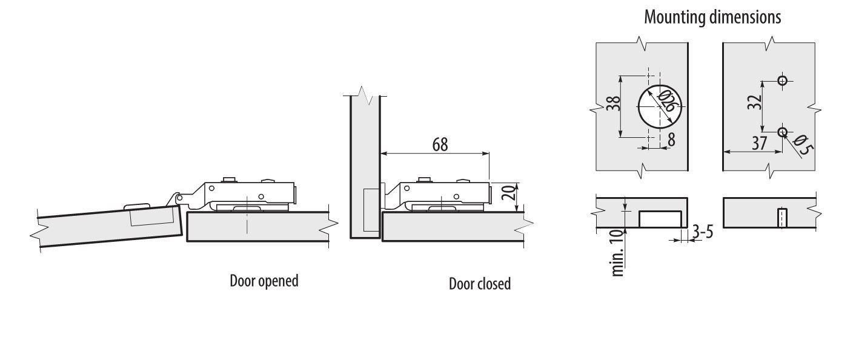 SOFT CLOSE KITCHEN CABINET CUPBOARD WARDROBE DOOR HINGES
