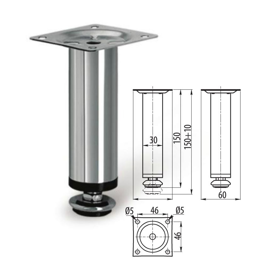 Adjustable Plinth Leg For Kitchen Cabinet/Furniture/Sofa Chrome 100mm / 150mm