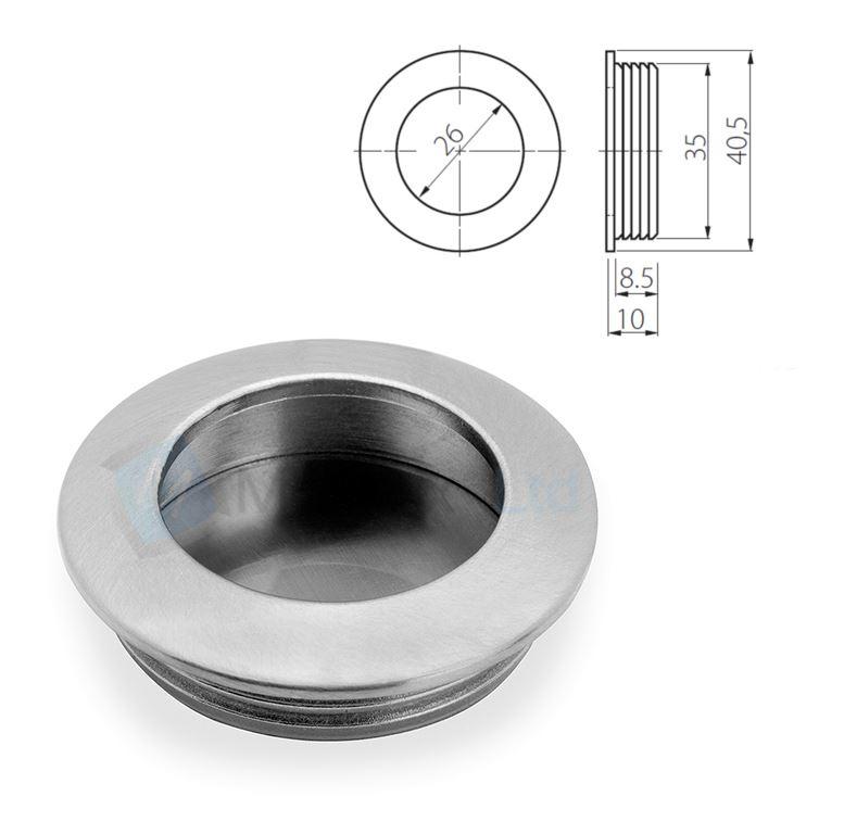 Recessed Flush Sliding Door Handle Pull Square Circle 40 X