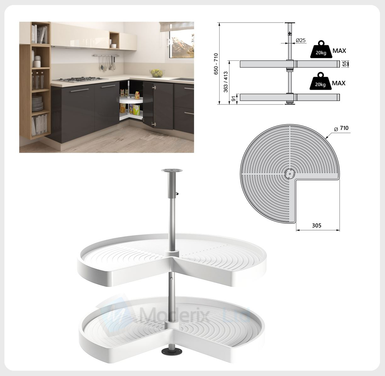 KITCHEN CORNER UNIT CAROUSEL CIRCLE 3 4 SET