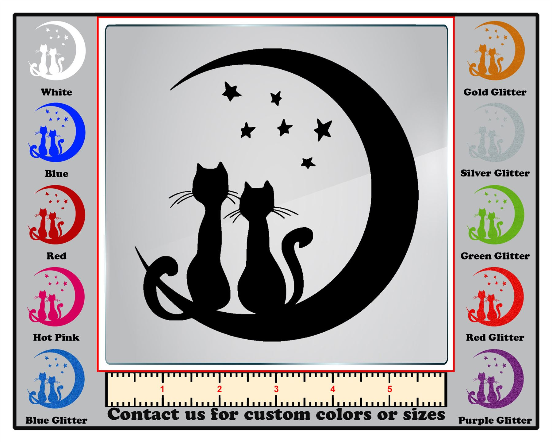 Wall DecalDoggy Cats silhouette in the moon Vinyl Decal Car