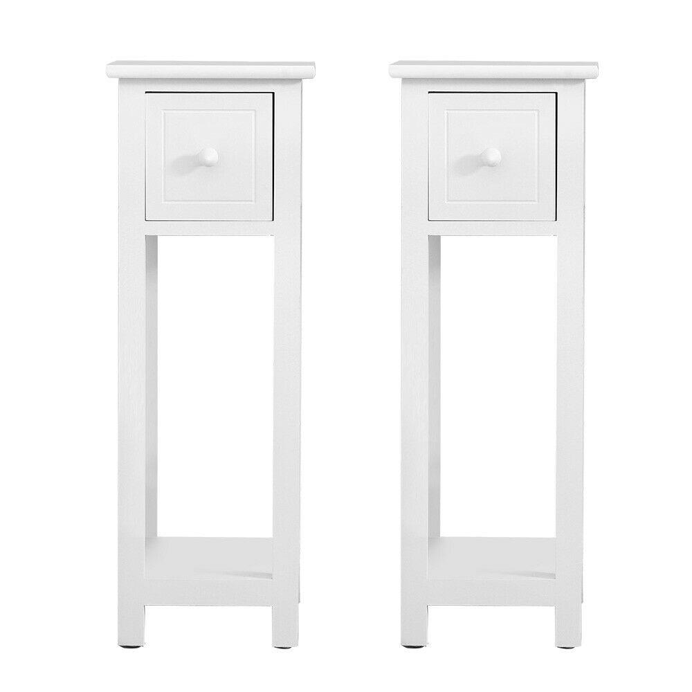 thumbnail 12 - White-Bedside-Table-Cabinet-Nightstand-Side-End-w-Drawer-amp-Shelf-Storage-Bedroom