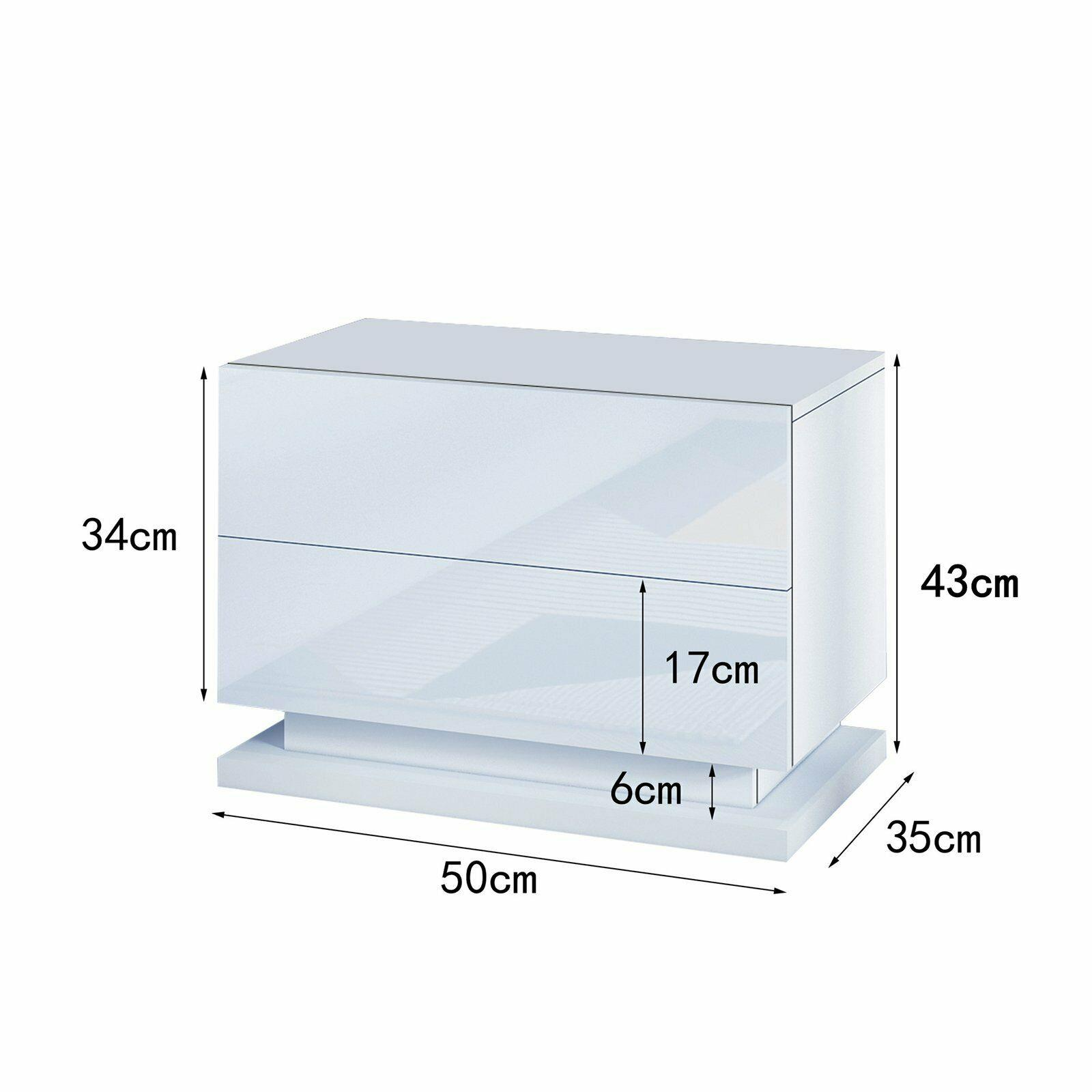 thumbnail 6 - Modern-LED-Bedside-Table-Cabinet-Nightstand-w-2-Drawer-High-Gloss-RGB-Light