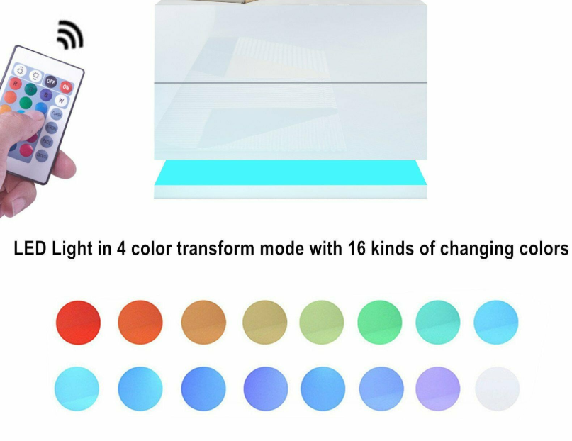 thumbnail 5 - Modern-LED-Bedside-Table-Cabinet-Nightstand-w-2-Drawer-High-Gloss-RGB-Light