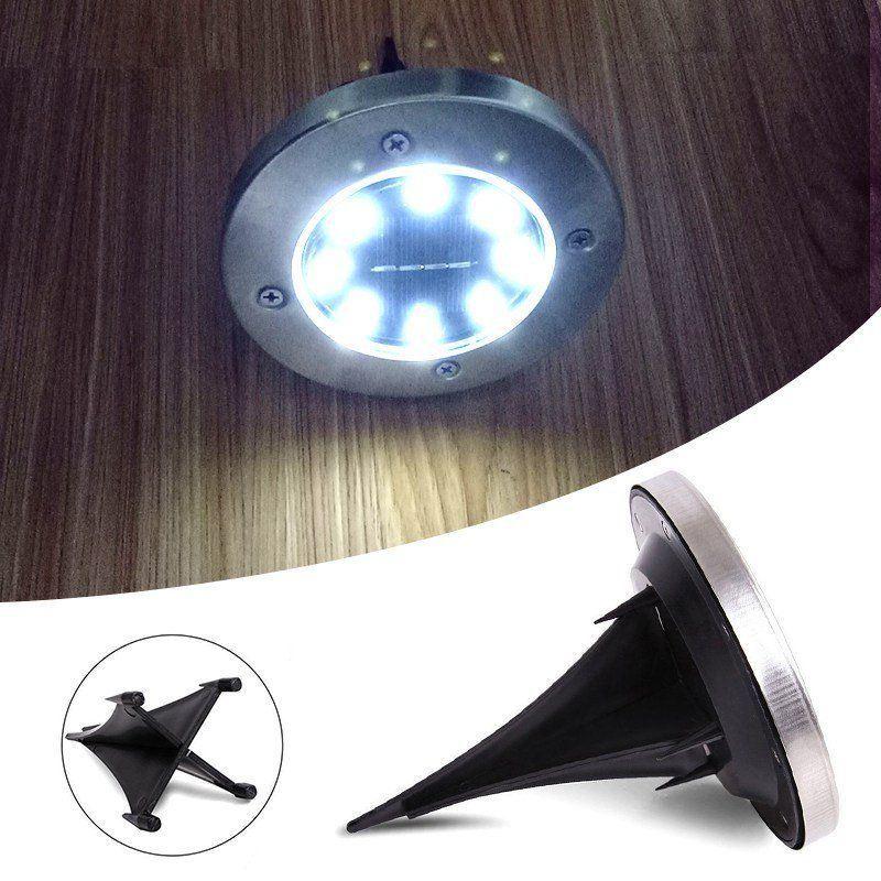 8LED-Solar-Power-Disk-Lights-Buried-Under-Ground-Lamp-Outside-Decking-UK thumbnail 8