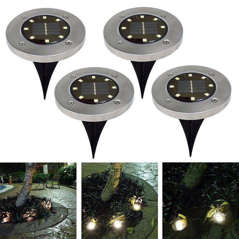 8LED-Solar-Power-Disk-Lights-Buried-Under-Ground-Lamp-Outside-Decking-UK thumbnail 5