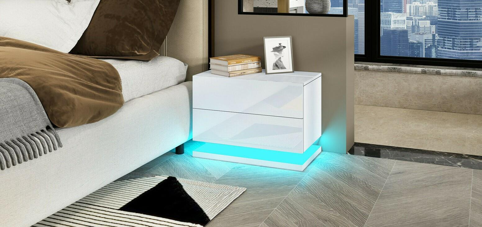 thumbnail 4 - Modern-LED-Bedside-Table-Cabinet-Nightstand-w-2-Drawer-High-Gloss-RGB-Light