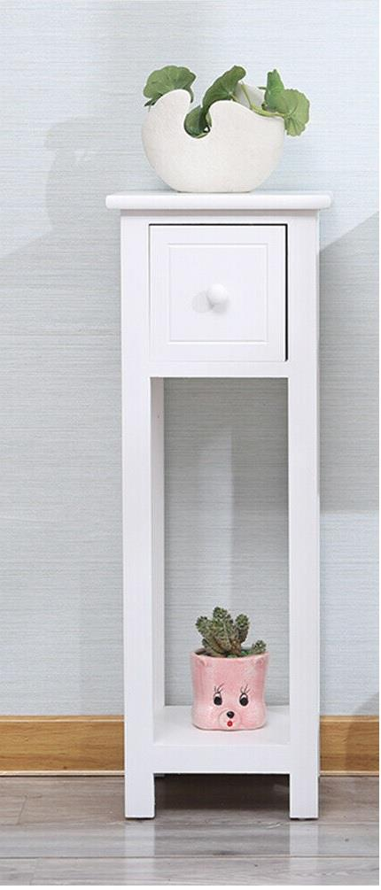 thumbnail 9 - White-Bedside-Table-Cabinet-Nightstand-Side-End-w-Drawer-amp-Shelf-Storage-Bedroom
