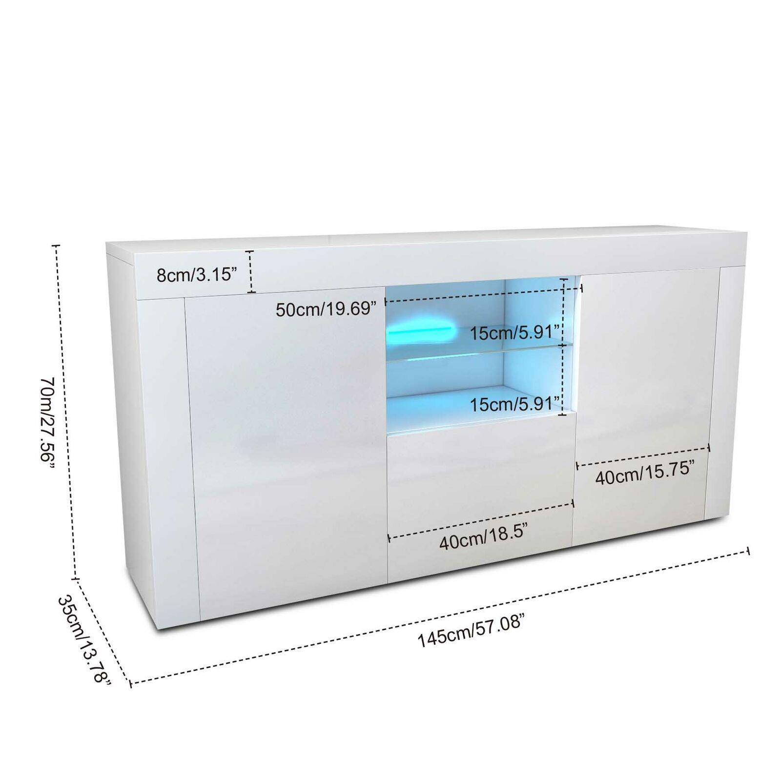 thumbnail 5 - Sideboard-3Doors-High-Gloss-Cabinet-Cupboard-Storage-TV-Unit-LED-Light