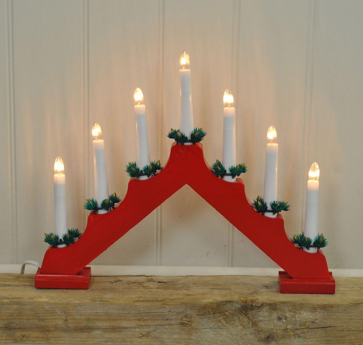 Natale-Natale-Decorazione-da-finestra-ad-arco-in-Legno-Candela-Ponte-Luce-Decor-7-Lampadine miniatura 6