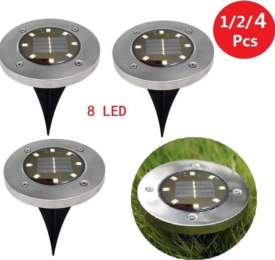 8LED-Solar-Power-Disk-Lights-Buried-Under-Ground-Lamp-Outside-Decking-UK thumbnail 3