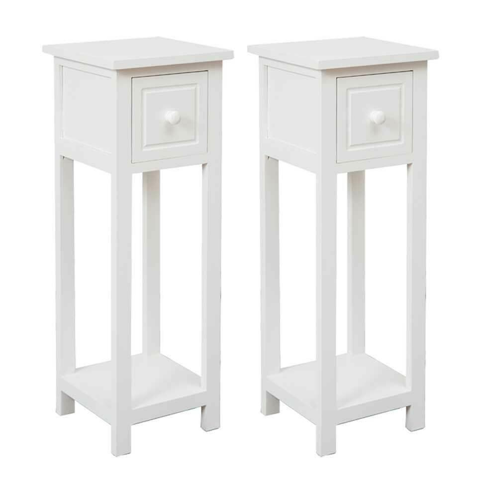 thumbnail 14 - White-Bedside-Table-Cabinet-Nightstand-Side-End-w-Drawer-amp-Shelf-Storage-Bedroom
