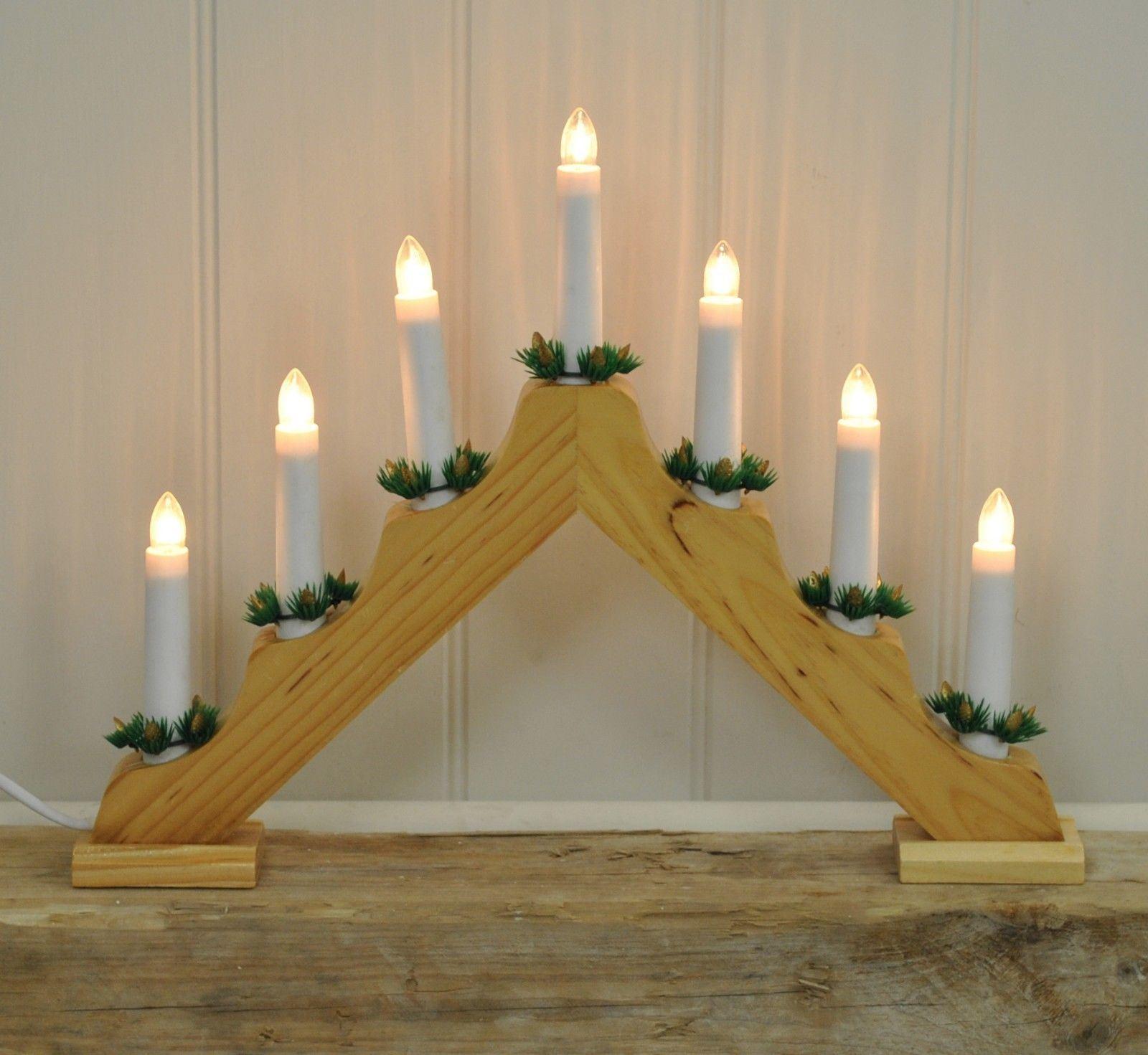 Natale-Natale-Decorazione-da-finestra-ad-arco-in-Legno-Candela-Ponte-Luce-Decor-7-Lampadine miniatura 4