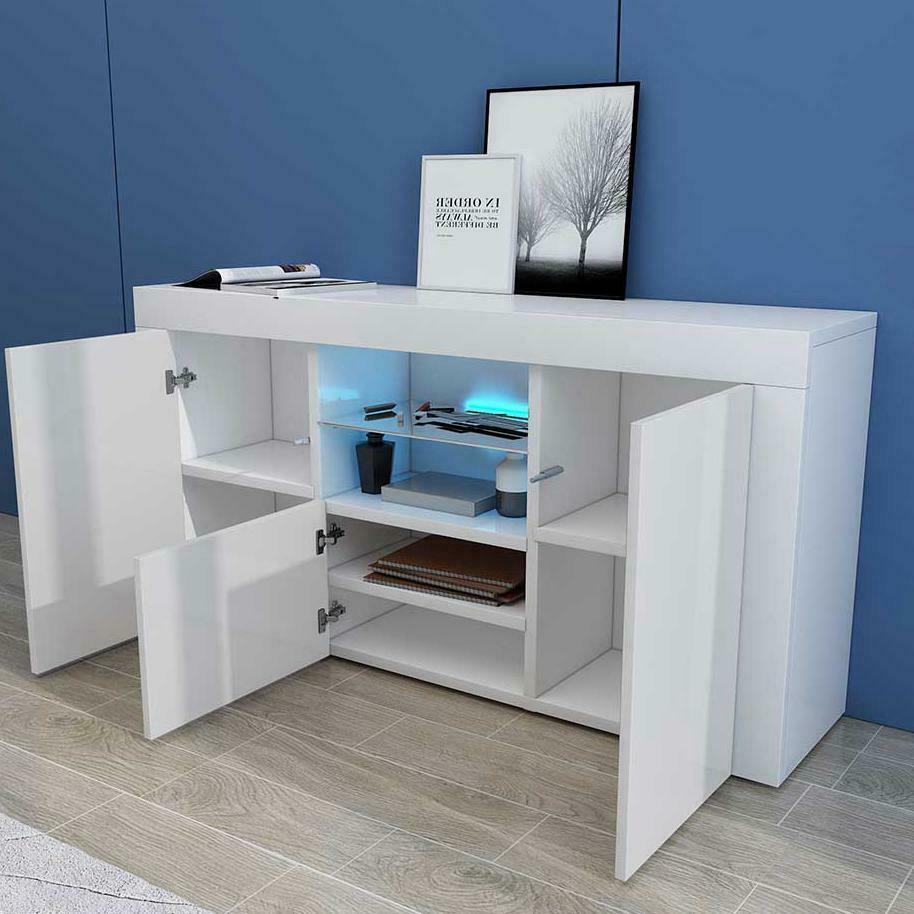thumbnail 4 - Sideboard-3Doors-High-Gloss-Cabinet-Cupboard-Storage-TV-Unit-LED-Light