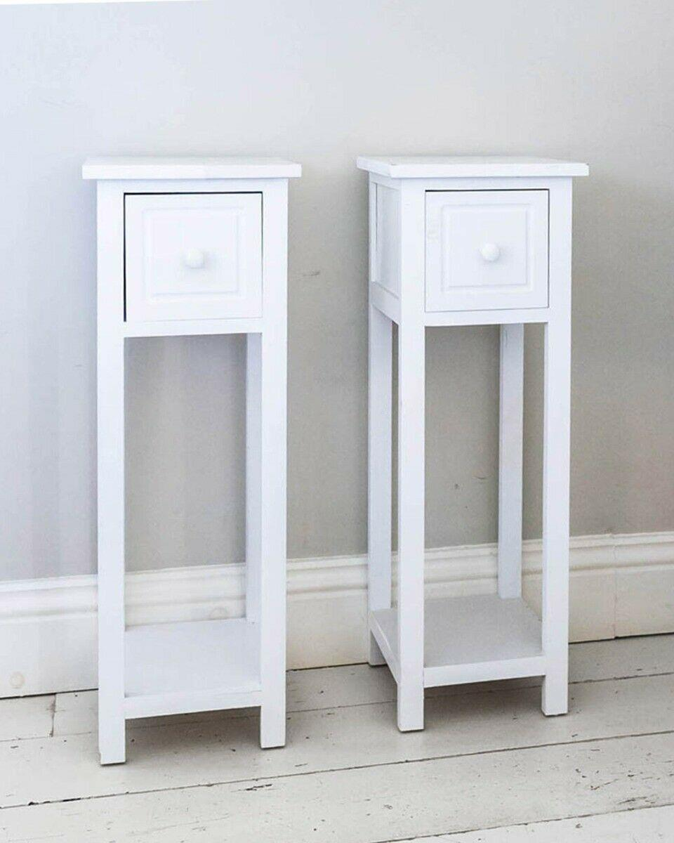 thumbnail 15 - White-Bedside-Table-Cabinet-Nightstand-Side-End-w-Drawer-amp-Shelf-Storage-Bedroom