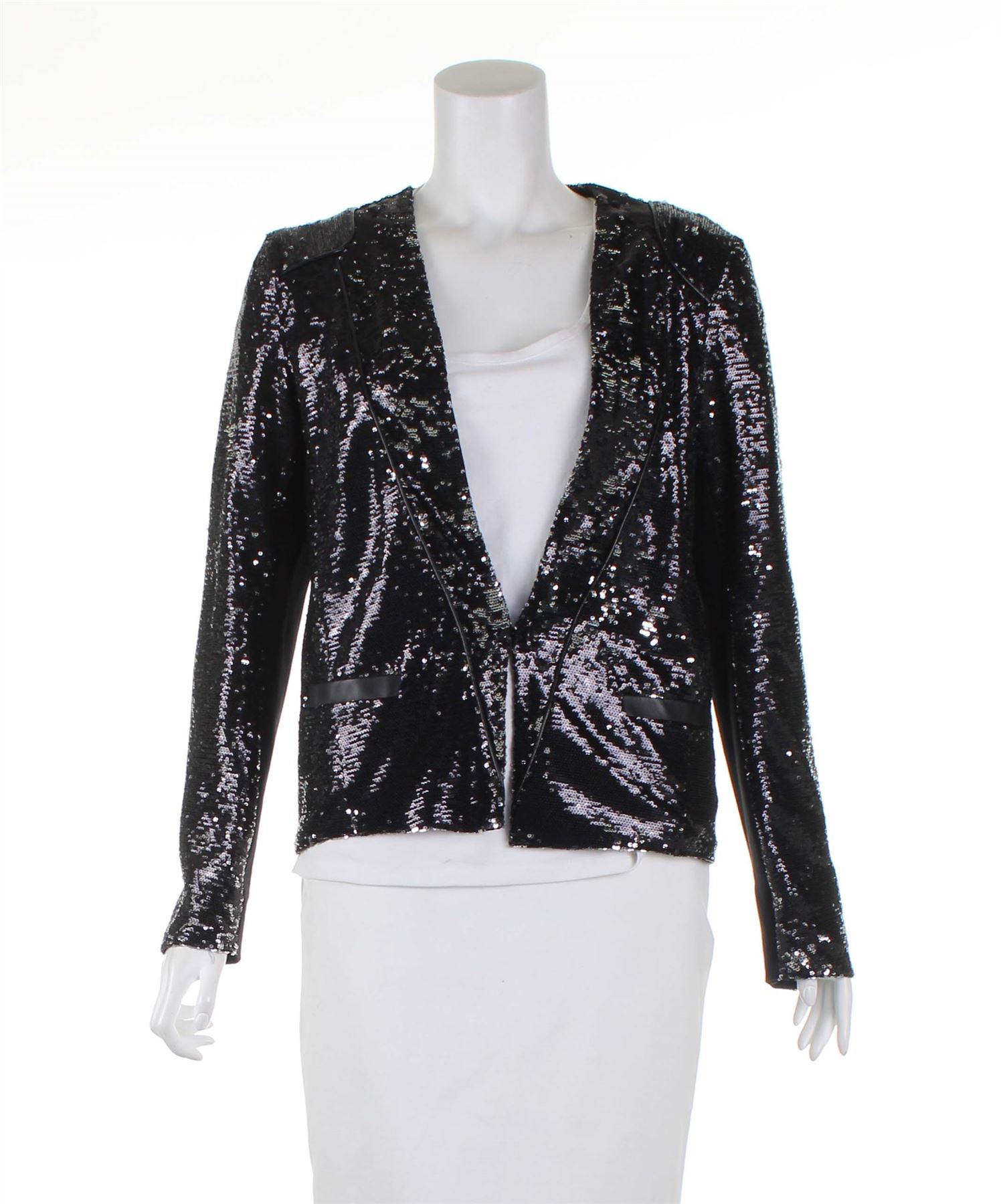 3598e9082eade MAJE Veste Polyester Glitter Blazer noir, UK 10 US 6 EU 38 | eBay
