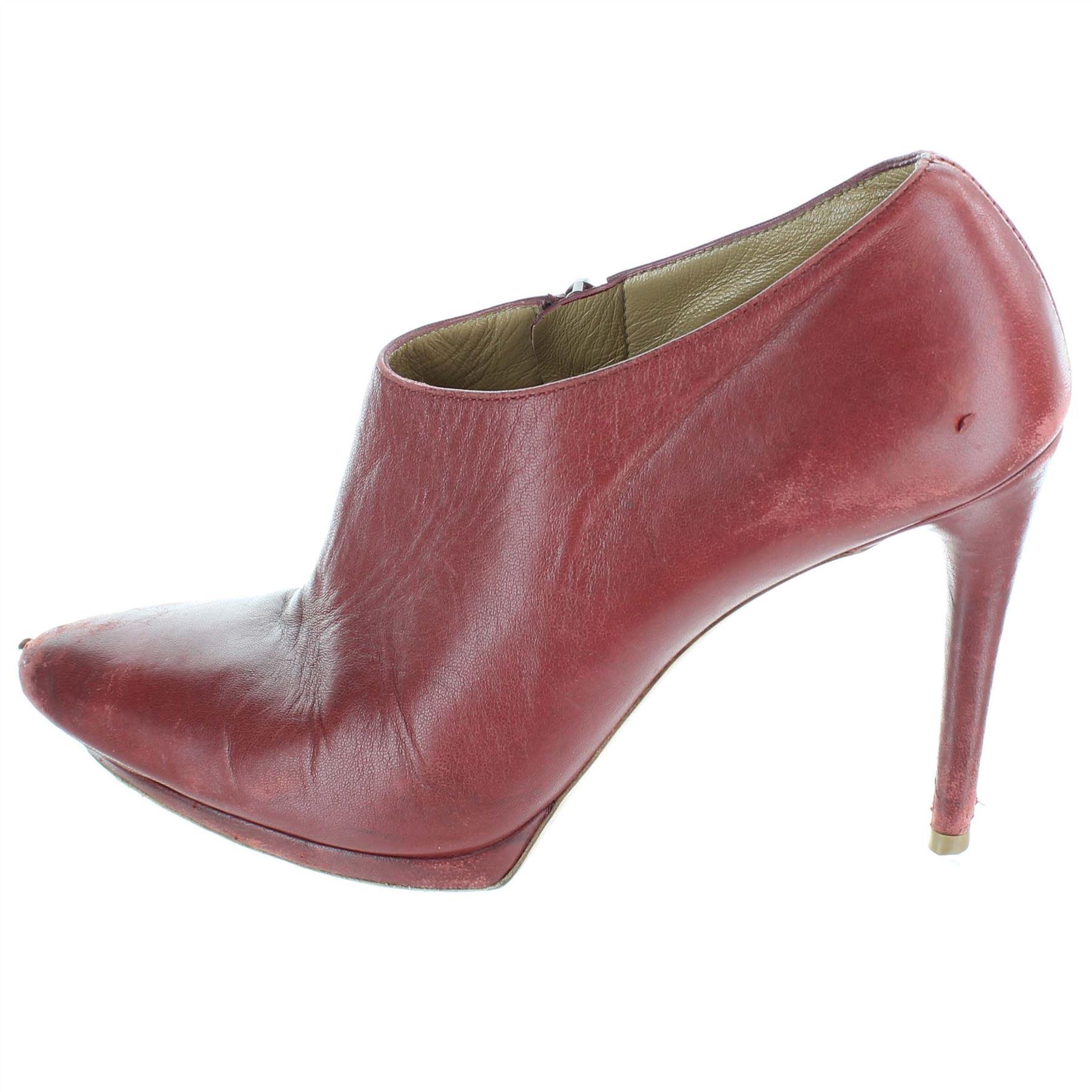selezione migliore 44da7 87ef1 Dettagli su BALENCIAGA Stivali rossi di pelle tacco alto, UK 5 US 7 EU 37