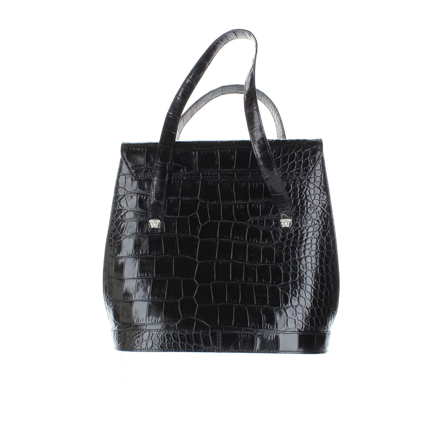 Poignée Cuir Noir En Versace Sac qCP6R