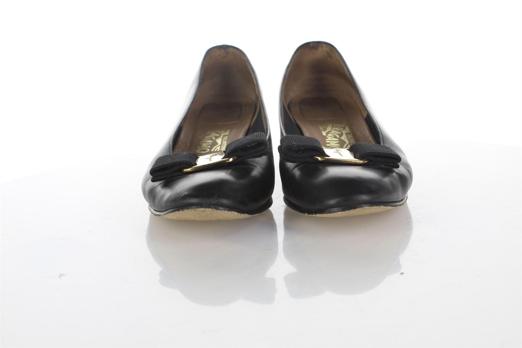 SALVATORE FERRAGAMO Vara Bow Scarpe in pelle nera UK 4.5 US 7.5 EU 37.5