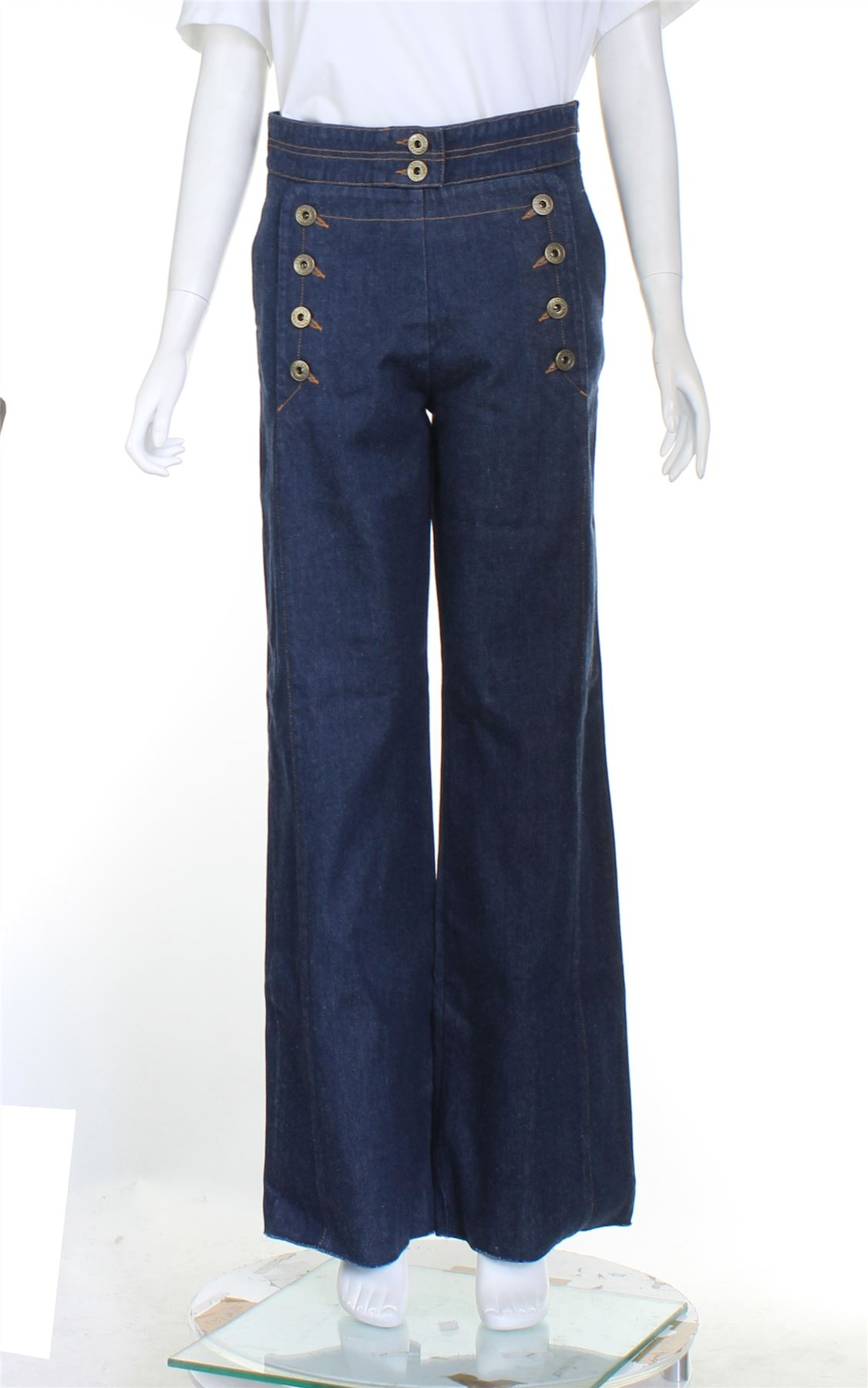 100% Vero ChloÉ Navy Blue Denim Jeans High Rise, Uk 8 Us 4 Eu 36 Squisita (In) Esecuzione