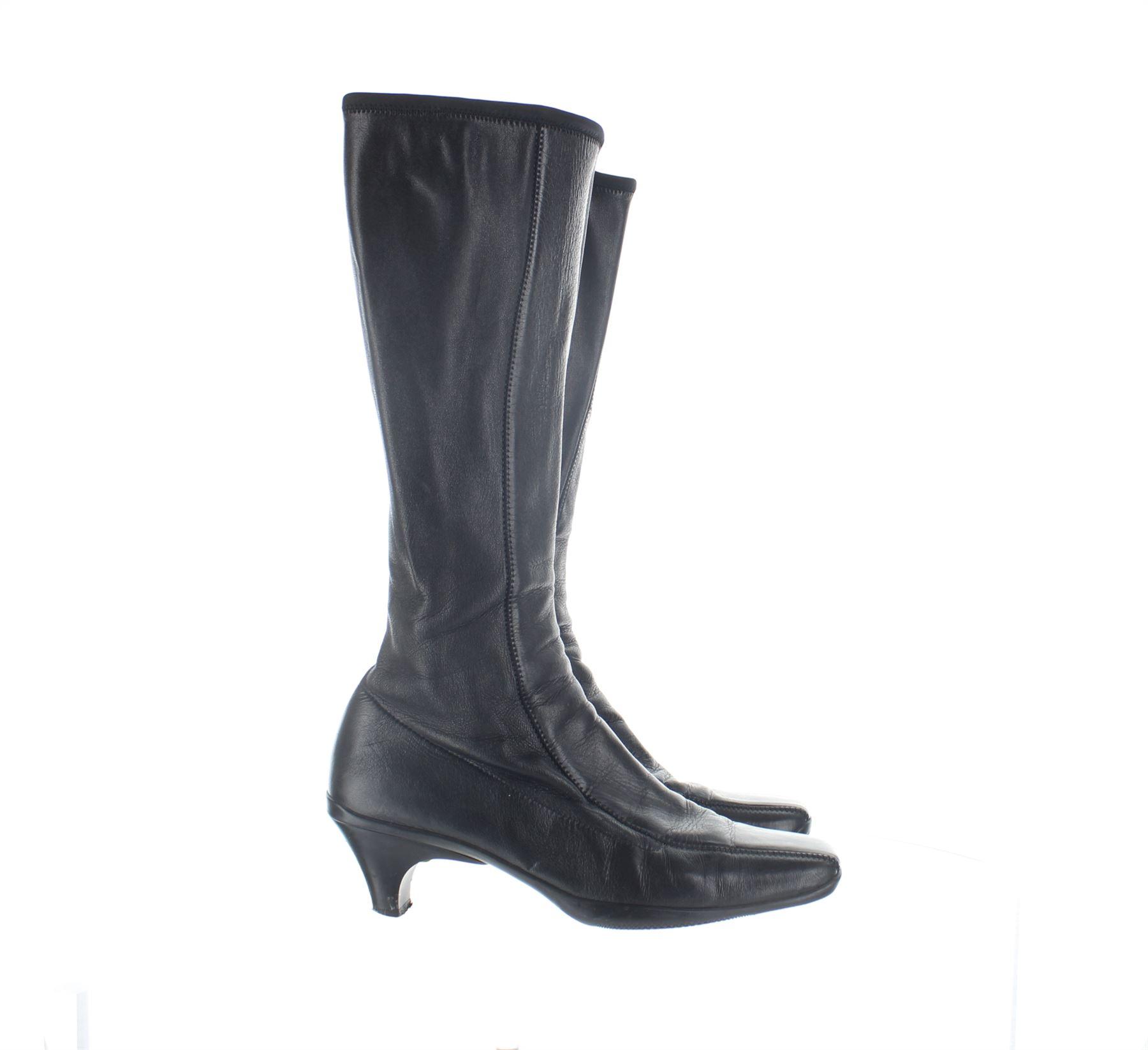 Prada Cuero Negro botas a la rodilla, UK 3.5 nos nos nos 6.5 EU 36.5  Envío rápido y el mejor servicio
