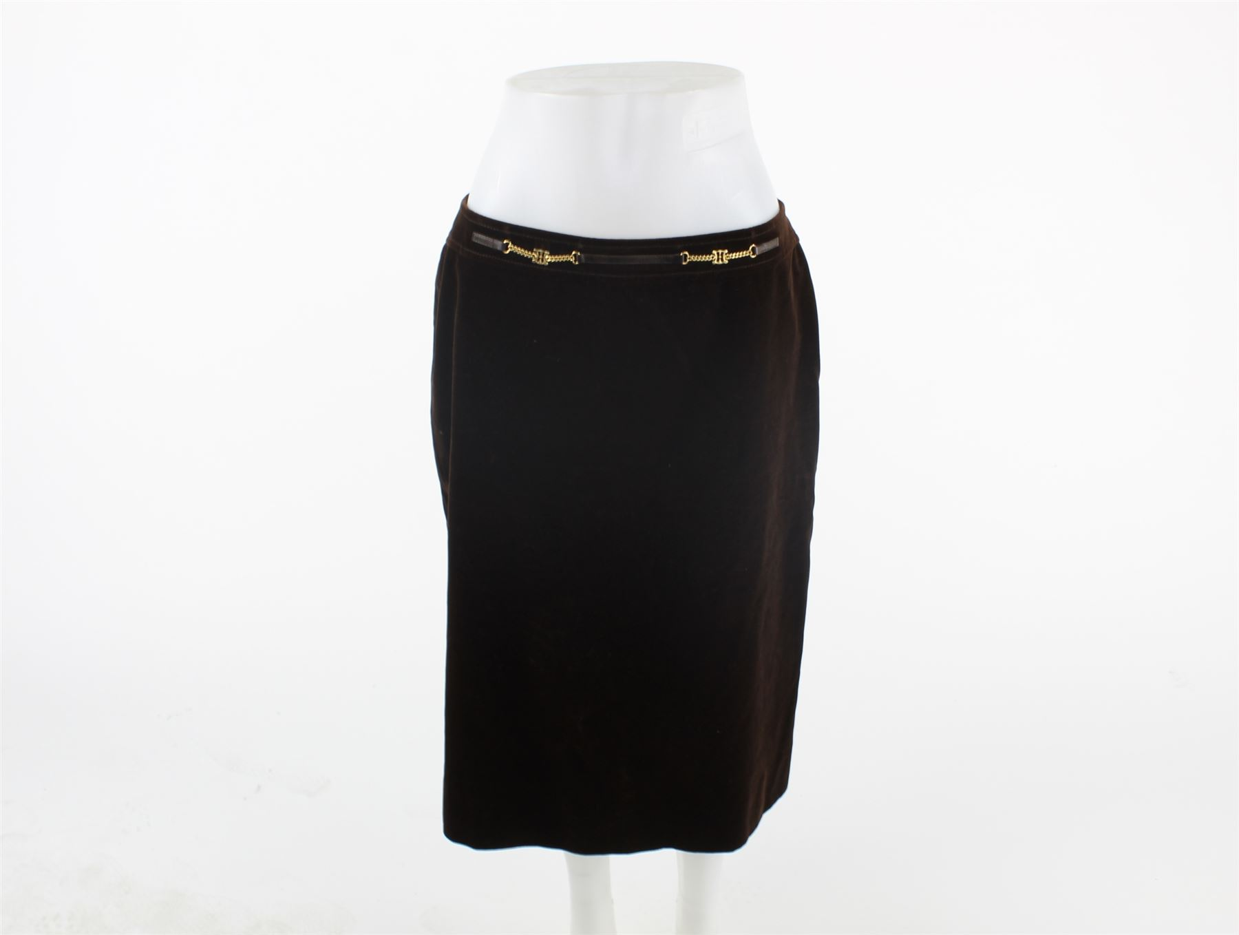 925e7b262edd CELINE Brown Velvet Skirt