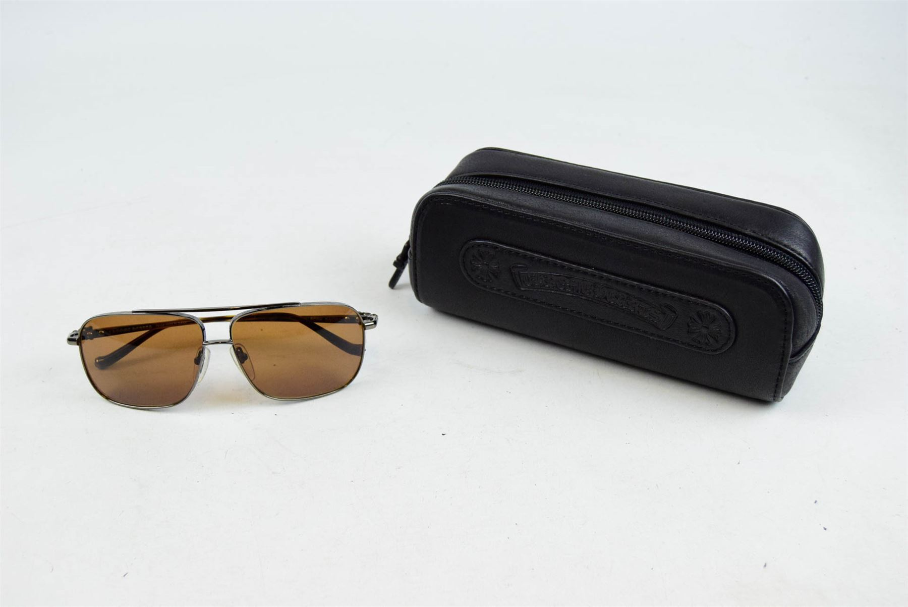 267500620d21 Details about CHROME HEARTS Pork Sword Brown Sunglasses